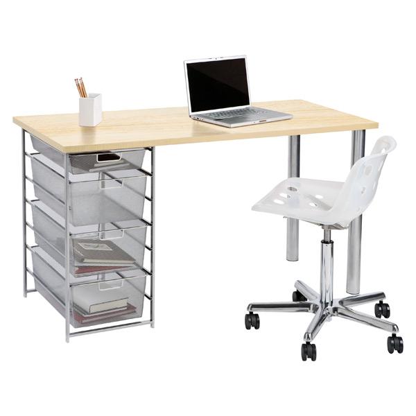 elfa Mesh Component Desk Sand & Platinum