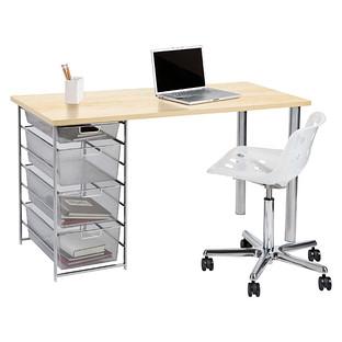 Sand & Platinum elfa Mesh Component Desk