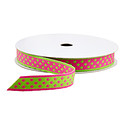 Pink & Green Dot Reversible Ribbon