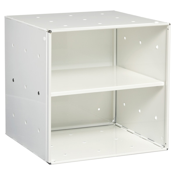 White Enameled QBO Steel Cube Shelf