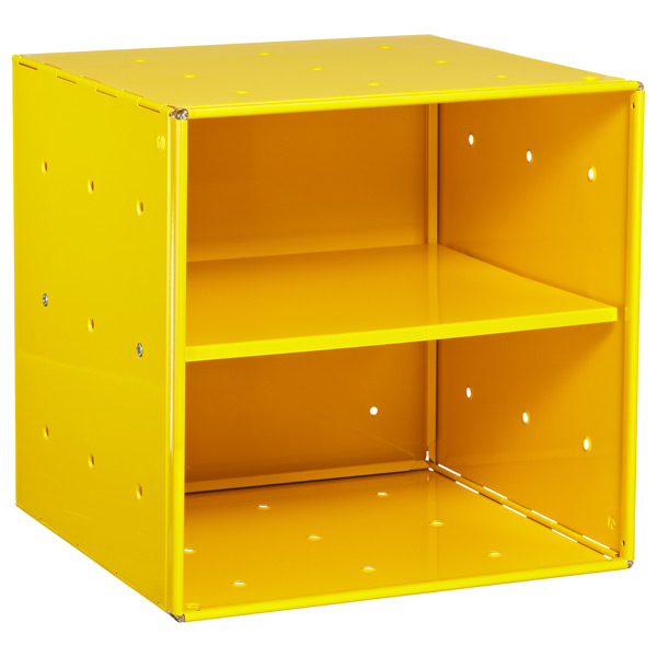 Yellow Enameled QBO® Steel Cube Shelf