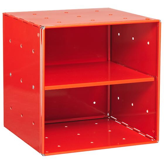 Red Enameled QBO Steel Cube Shelf