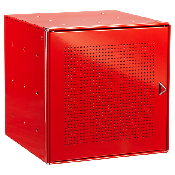Red Enameled QBO Perforated Steel Cube Door