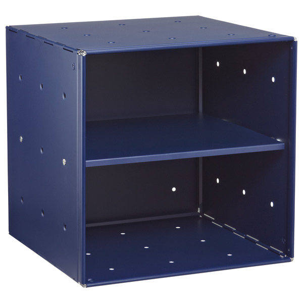 Blue Enameled QBO Steel Cube Shelf