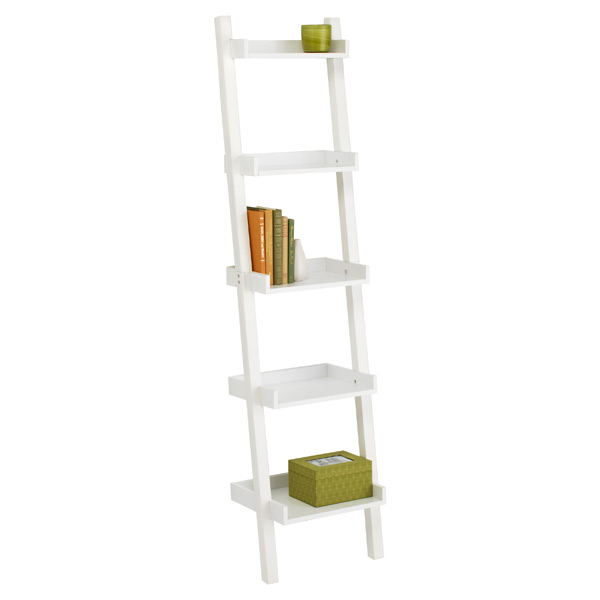 Narrow Linea Leaning Bookcase White
