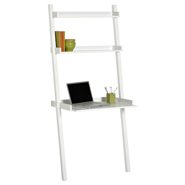 white linea leaning desk the container store. Black Bedroom Furniture Sets. Home Design Ideas