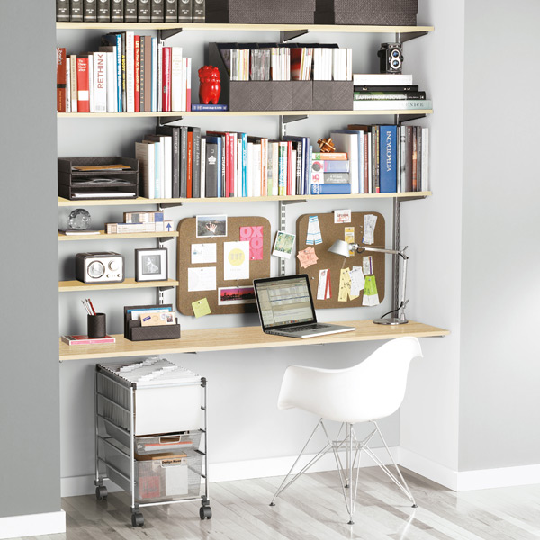 sand platinum elfa home office shelving the container store