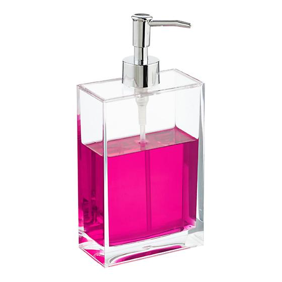 Rectangle acrylic soap pump the container store for Clear bathroom containers