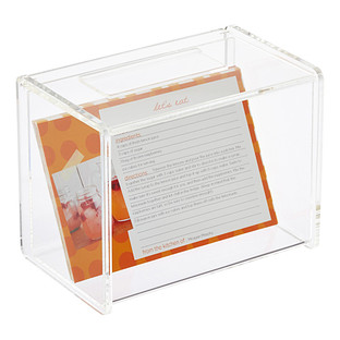 Acrylic Recipe Box with Card Holder
