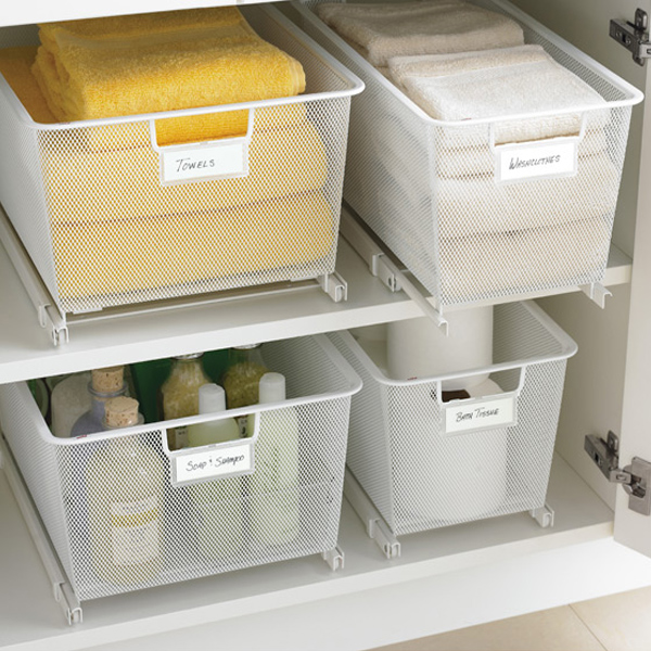 Deep Kitchen Cabinet Solutions: Cabinet-Sized Elfa Mesh Easy Gliders Solution
