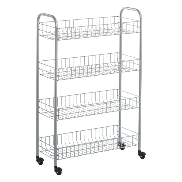 Silver 4 Tier Slim Rolling Cart The Container Store