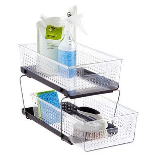 Awesome Madesmart 2 Tier Grey Pull Out Cabinet Organizer