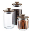 Artisan Glass Canisters with Walnut Lids