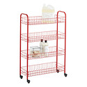 Red 4-Tier Slim Rolling Cart