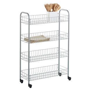 Silver 4 Tier Slim Rolling Cart Reviews The Container Store