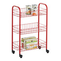 Red 3-Tier Siena Rolling Cart