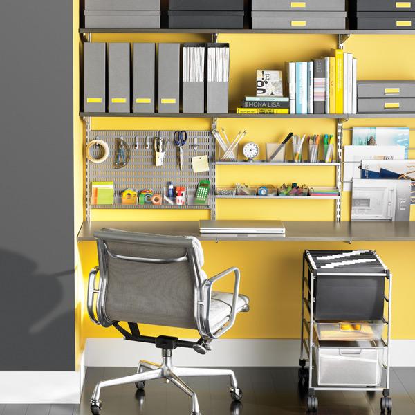 Driftwood platinum elfa deluxe home office the for Elfa desk system