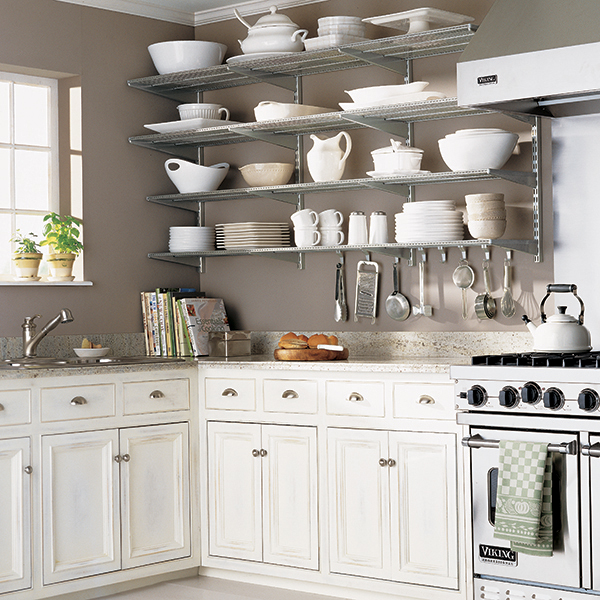 Open Kitchen Shelves Decorating Ideas: Platinum Elfa Kitchen Wall