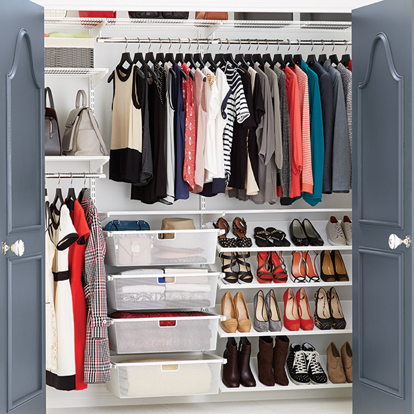 White elfa Reach-In Clothes Closet