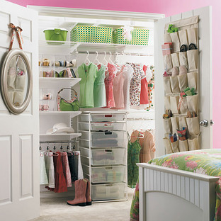 White elfa Girl's Reach-In Closet