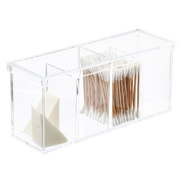 Acrylic 4 section box the container store for Bathroom containers