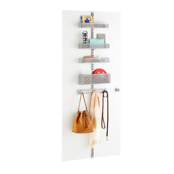 Elfa Utility White Mesh Pantry Door Wall Rack: Platinum Elfa Utility Mesh Drop Zone Door & Wall Rack