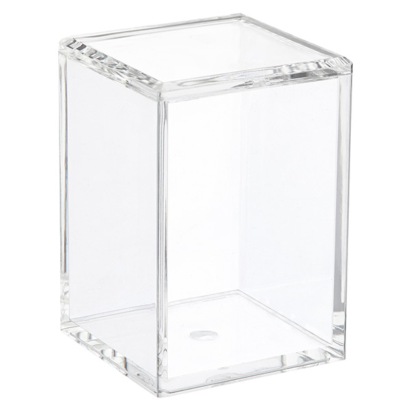Acrylic square canisters with lids the container store for Bathroom containers with lids