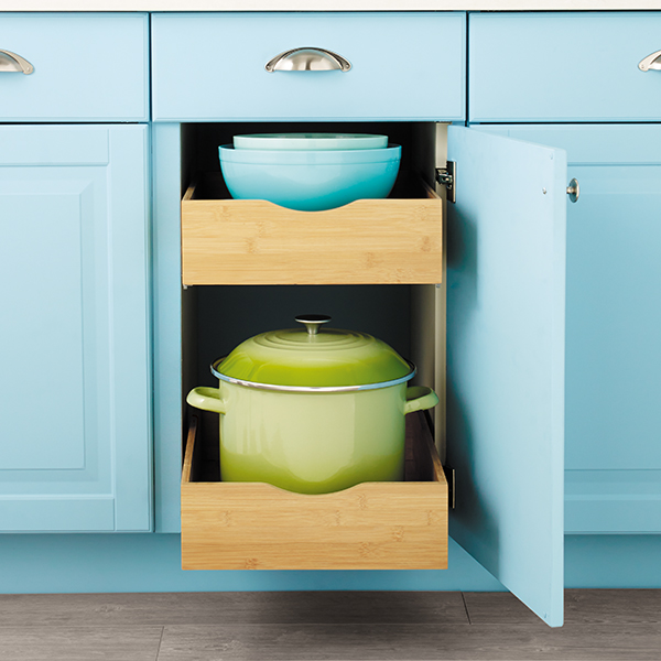 Lower Kitchen Cabinets: Bamboo Roll-Out Cabinet Drawers