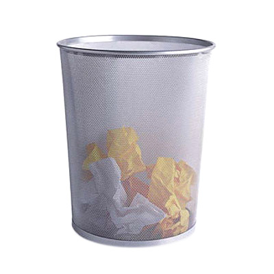 silver mesh wastebasket the container store