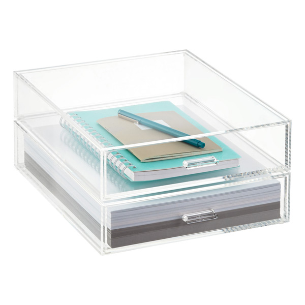 Portait acrylic paper drawer the container store - Acrylic desk drawer organizer ...