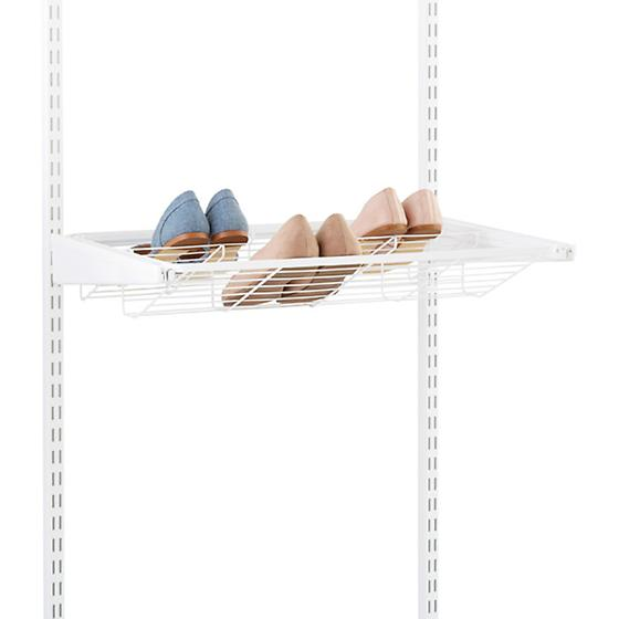White elfa Gliding Shoe Shelves