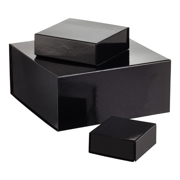Glossy Black Collapsible Gift Boxes
