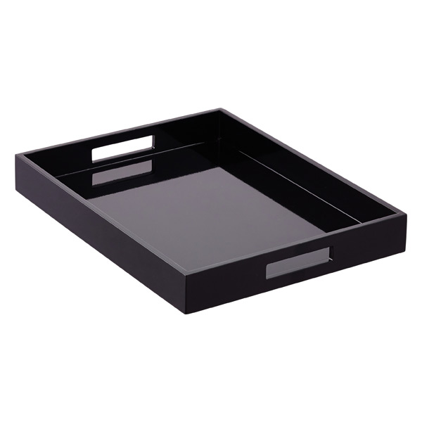 Black Lacquered Serving Tray With Handles The Container