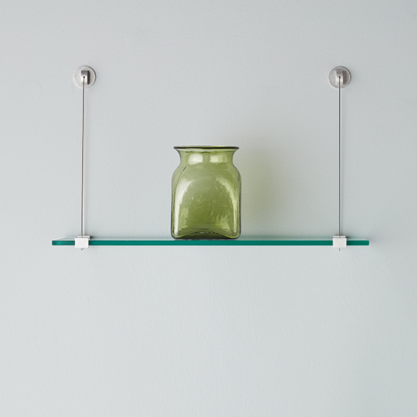 glass shelves with cable brackets the container store. Black Bedroom Furniture Sets. Home Design Ideas