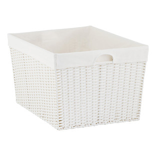 White Montauk Rectangular Basket The Container Store