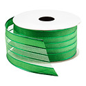 Green Sheer Stripe Foil Wired Ribbon