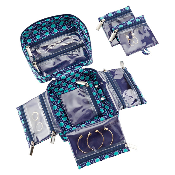 Navy Amp Aqua Tile In Bag Large Jewelry Organizer The