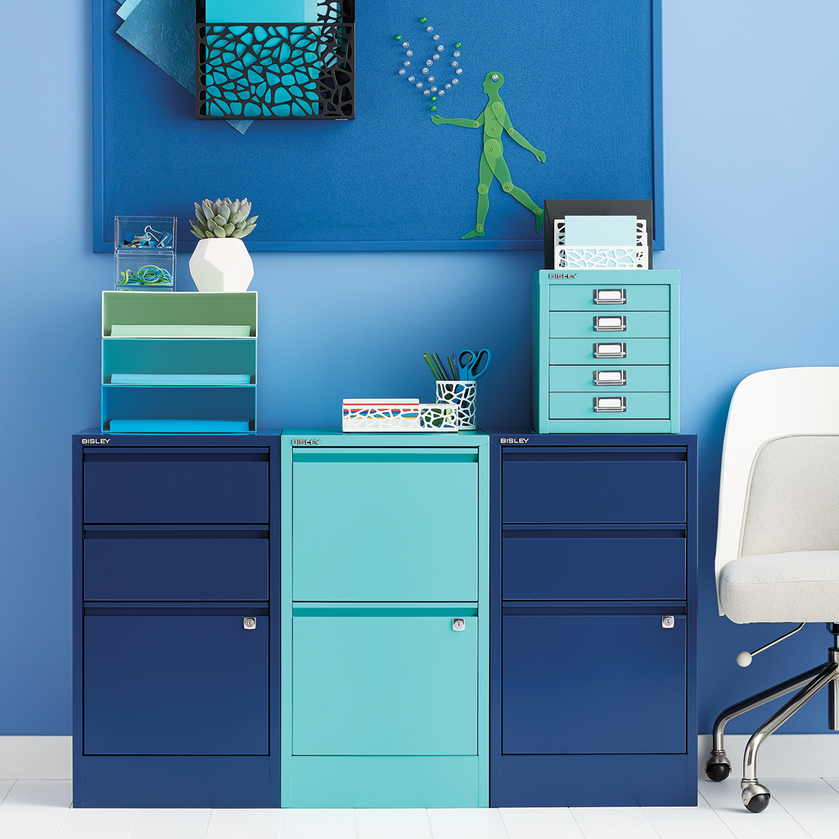 Oxford Blue Bisley 2- & 3-Drawer File Cabinets