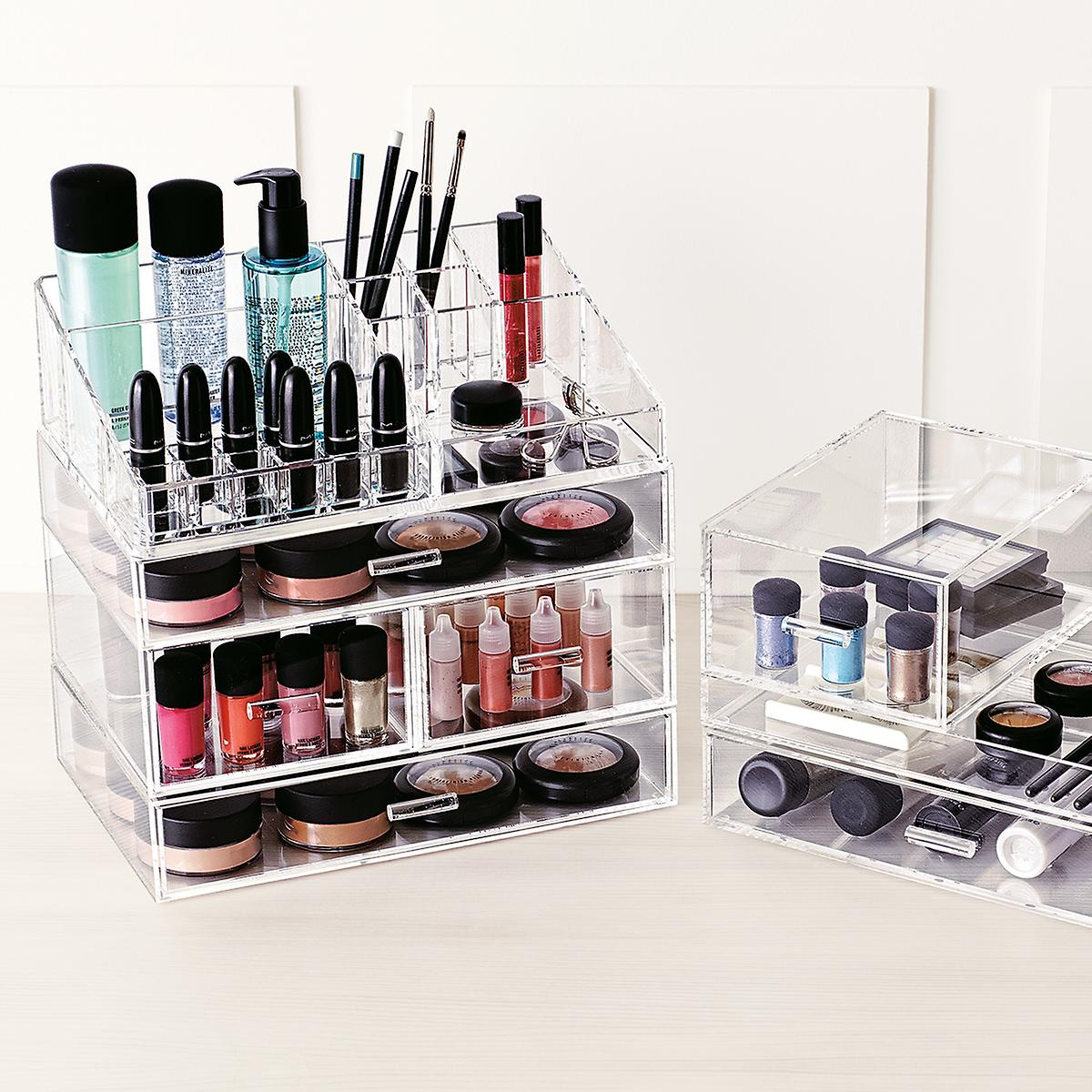 large acrylic makeup organizer the container store