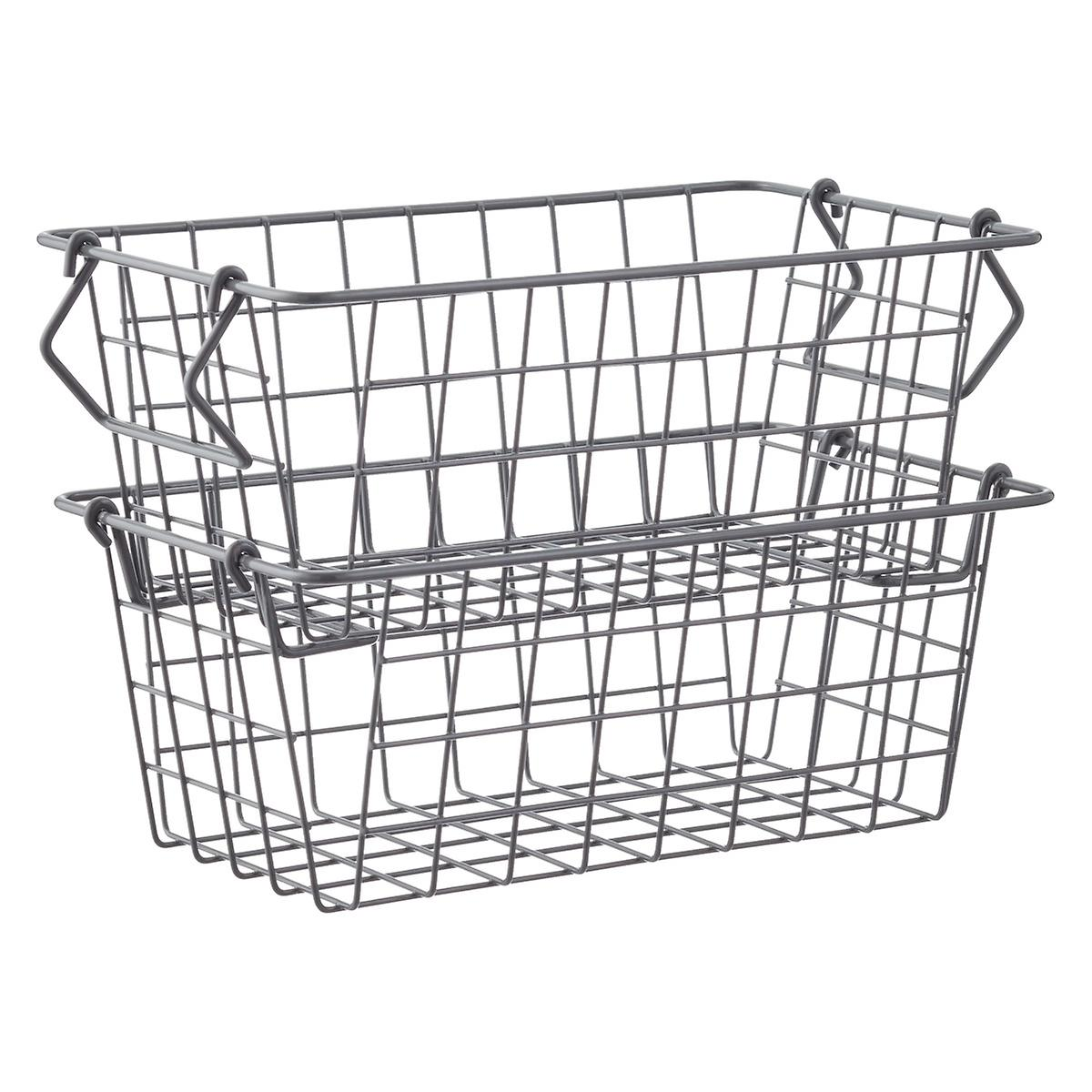 stackable wire basket with handles the container store. Black Bedroom Furniture Sets. Home Design Ideas