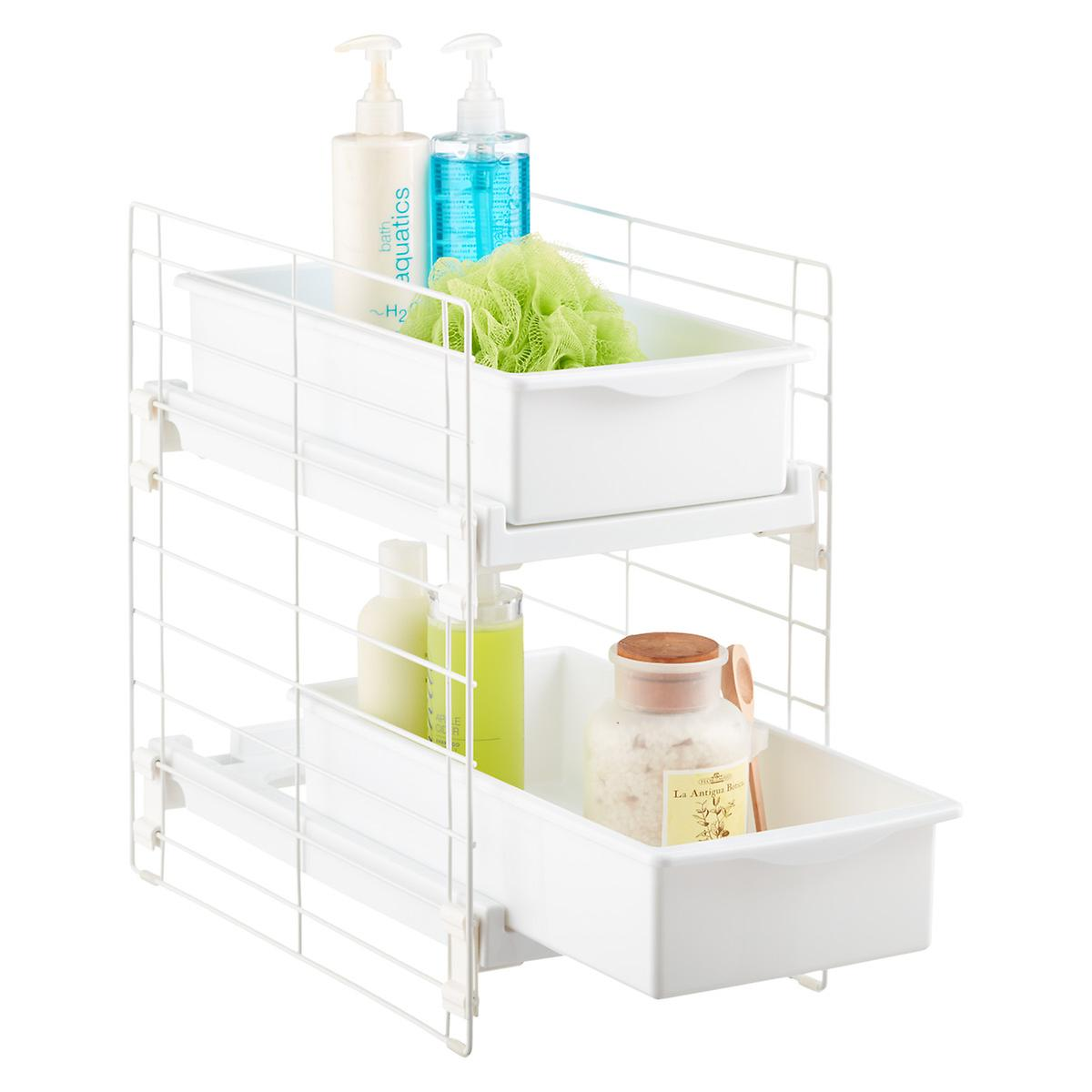 Sliding 2 drawer organizer the container store Bathroom cabinet organizers pull out