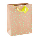 Large Lime Metallic Dots Kraft Tote