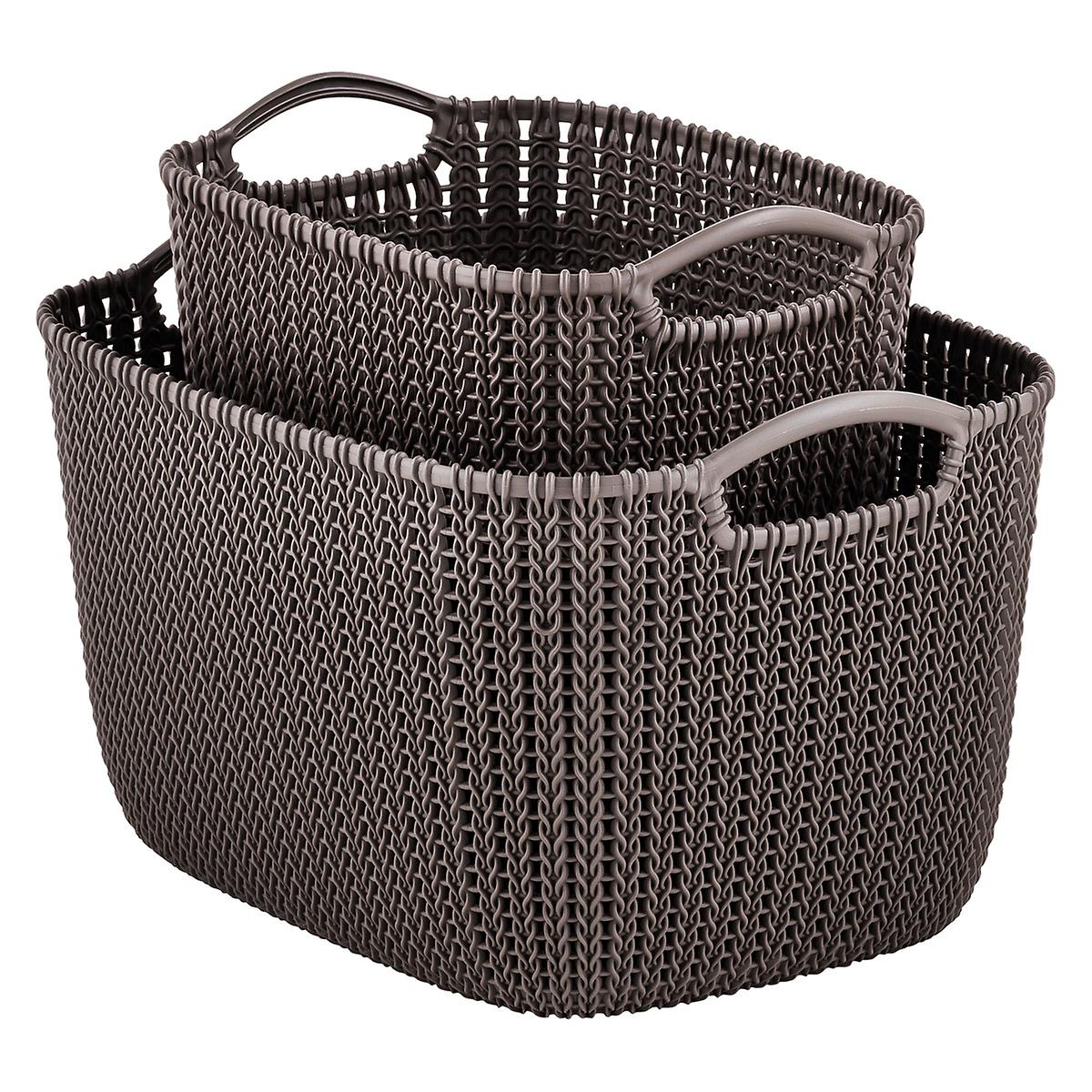 Curver Sand Knit Storage Baskets: Curver Harvest Brown Knit Baskets