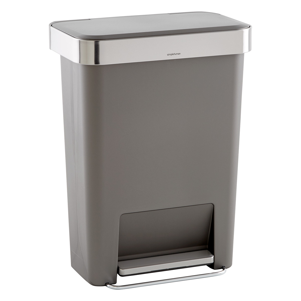 grey 12 gal rectangular trash can the container store. Black Bedroom Furniture Sets. Home Design Ideas