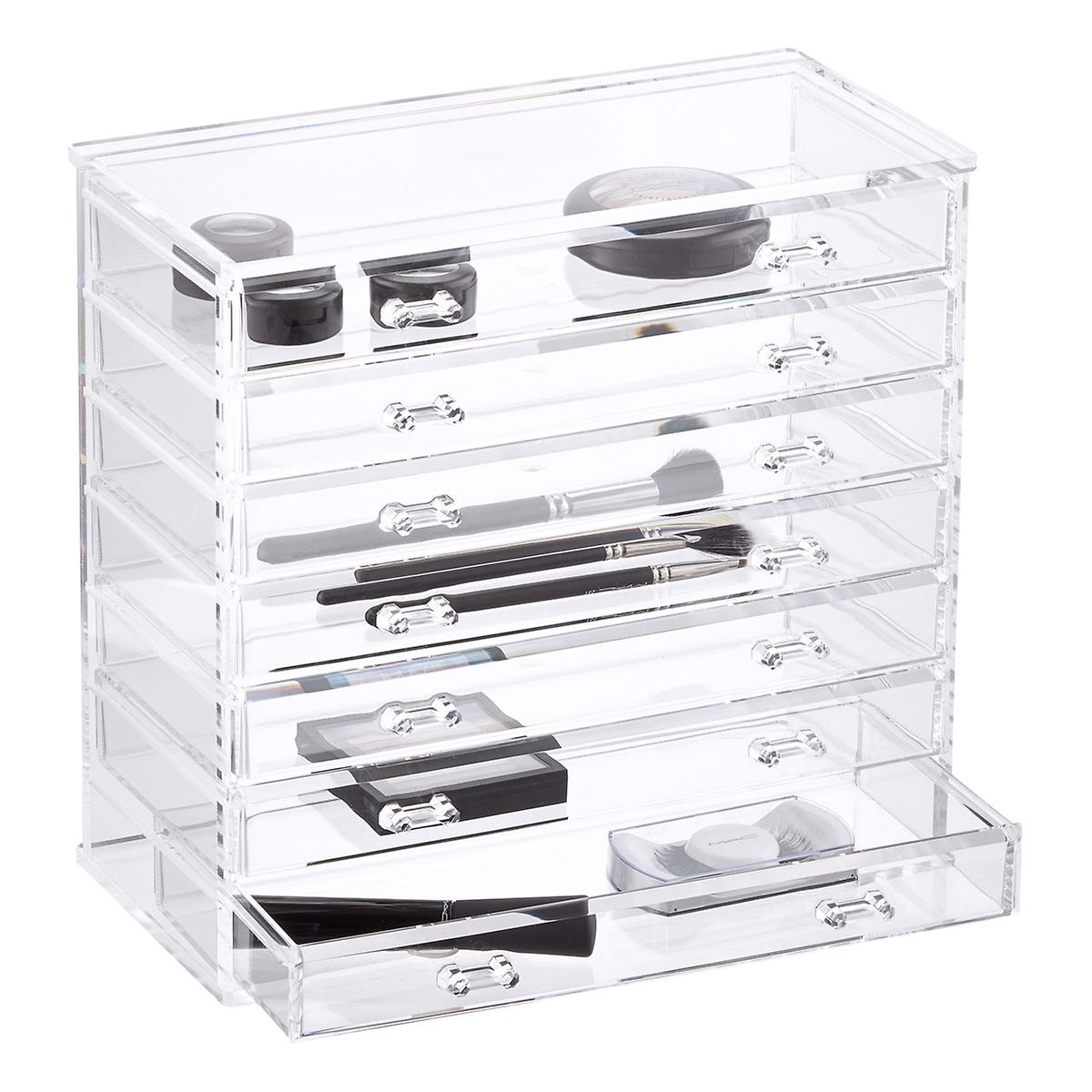 7 drawer premium acrylic chest the container store Makeup drawer organizer
