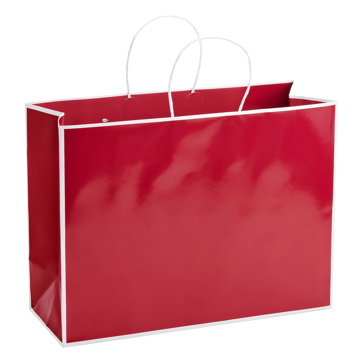 Large bordered red gift bag the container store