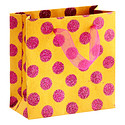 Mini Pink Glitter Dots on Orange Recycled Gift Bag