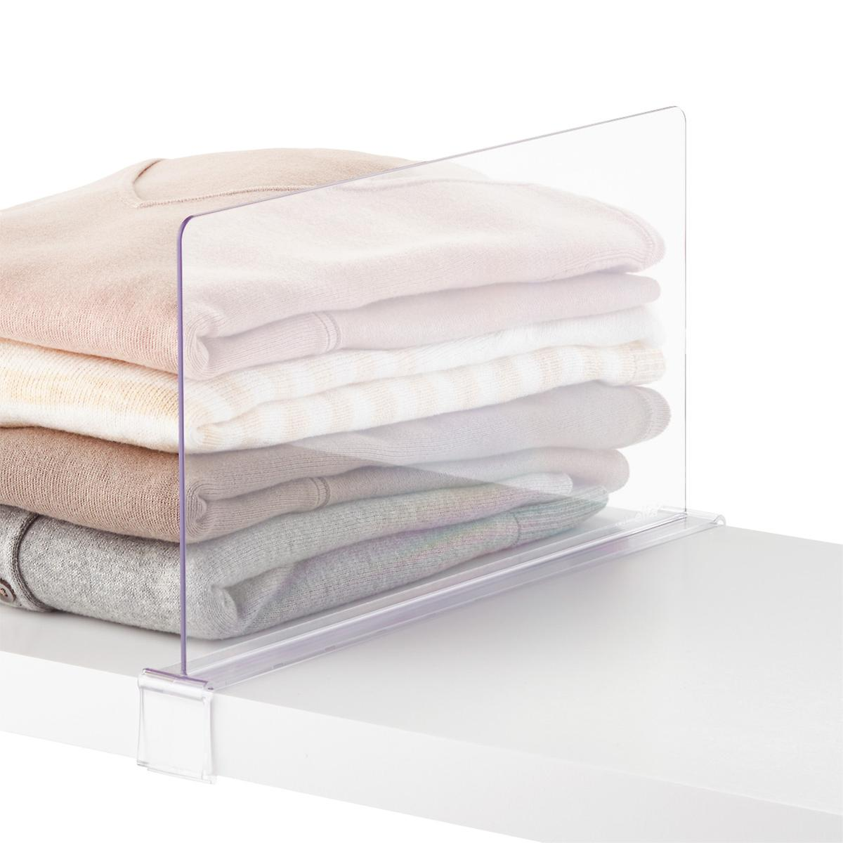 Available only at The Container Store, our Clear Shelf Divider is the perfect solution to organizing sweaters, towels, handbags and more. A valet knob on the end creates extra hanging space. The clear construction and minimal design make for a seamless look in any closet!/5(10).