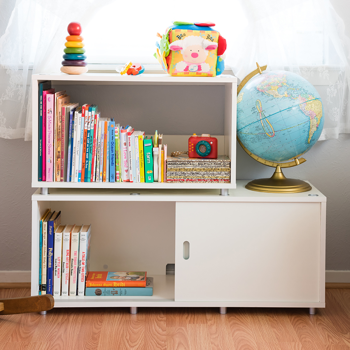 large white vario stacking shelf the container store. Black Bedroom Furniture Sets. Home Design Ideas