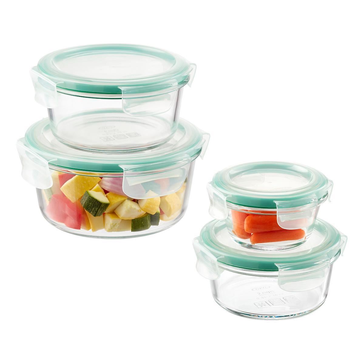 good grips 8 piece round glass food storage set the. Black Bedroom Furniture Sets. Home Design Ideas